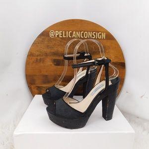 Prada black wood platform ankle strap heels